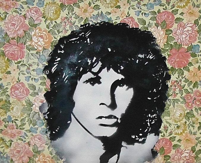 Morrison - Bombe aérosol sur papier peint - 39 x 49 cm