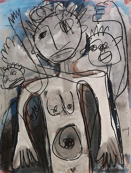 Sans titre - Acrylique et fusain sur papier cartonné - 65 x 50 cm