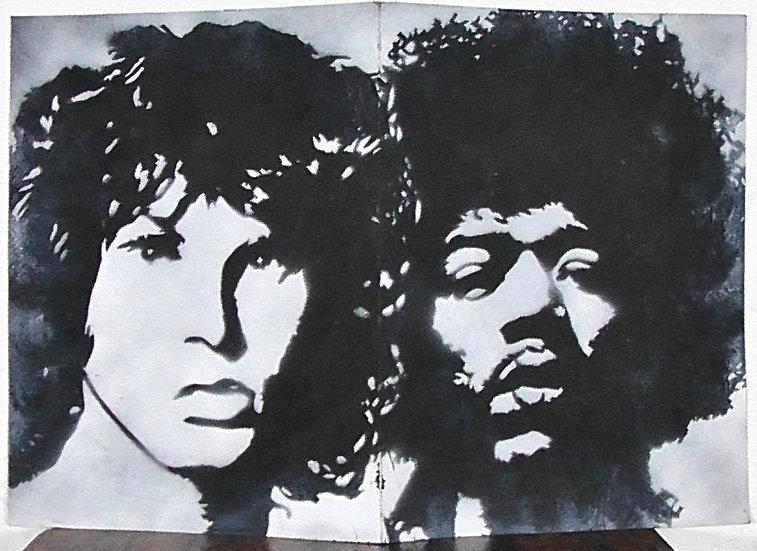 Morrison et Hendrix - Bombe aérosol sur papier - 32 x 48 cm