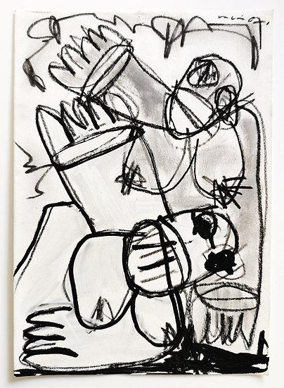 Sans titre - Gouache, acrylique et fusain sur papier - 21 x 14,5 cm