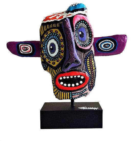 Totem - Acrylique sur bois - 30 x 30 x 10 cm