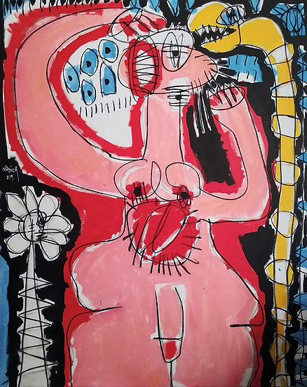 AB Intestat - Acrylique et fusain sur toile - 160 x 130 cm