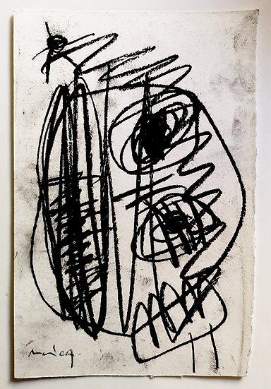 Sans titre - Fusain sur papier - 22 x 14,5 cm