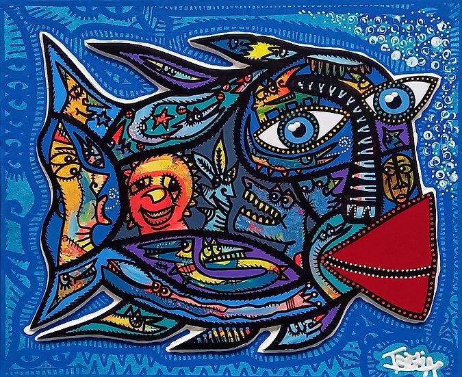 Sans titre - Acrylique sur carton plume marouflé sur toile - 38 x 46 cm