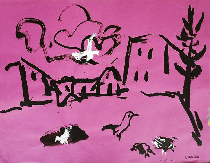 Paysage aux oiseaux - Acrylique sur papier - 50 x 65 cm