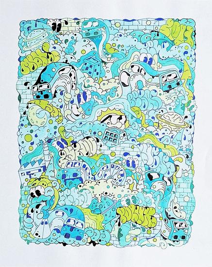 Sans titre - Encre et aquarelle sur papier - 50 x 40 cm