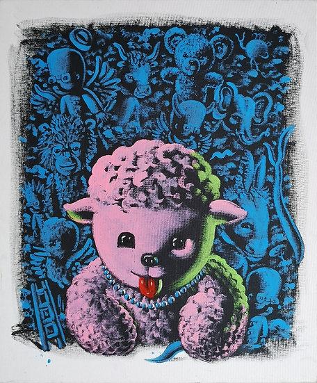 Dolly devant ses amis - Acrylique sur toile - 55 x 46 cm