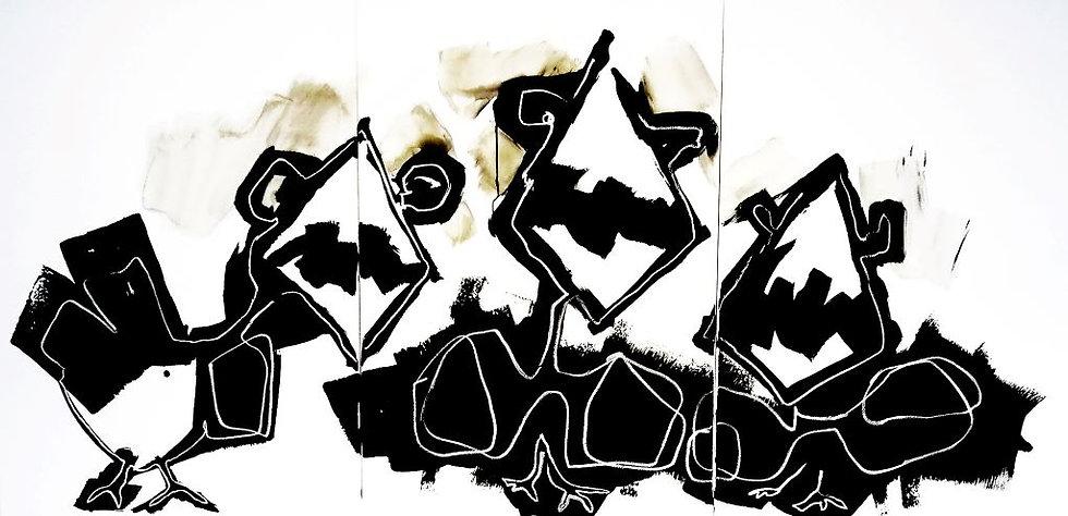Sans titre - Triptyque - Acrylique sur toile - 100 x 210 cm