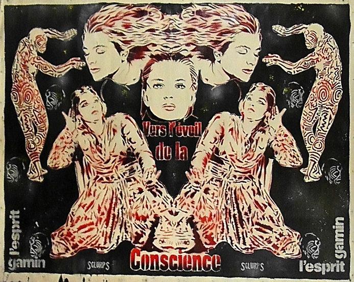 Vers l'éveil de la conscience - Bombe aérosol sur toile - 107 x 135 cm
