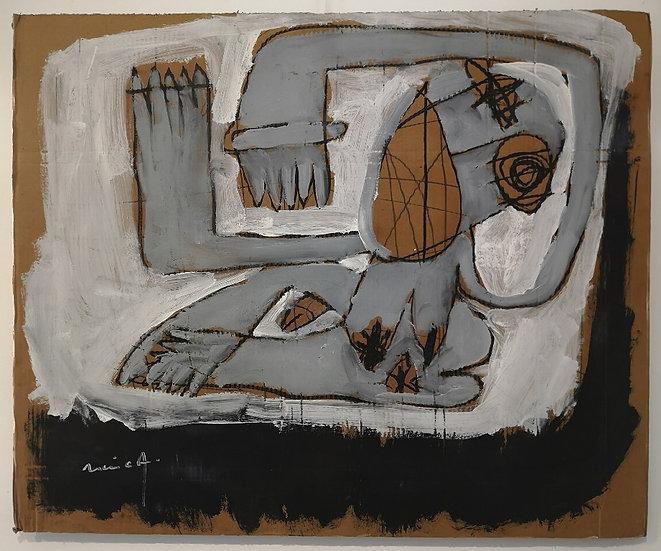 Sans titre - Gouache, acrylique et fusain sur carton - 71 x 87 cm