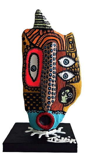 Totem - Acrylique sur bois - 27 x 15 x 10 cm