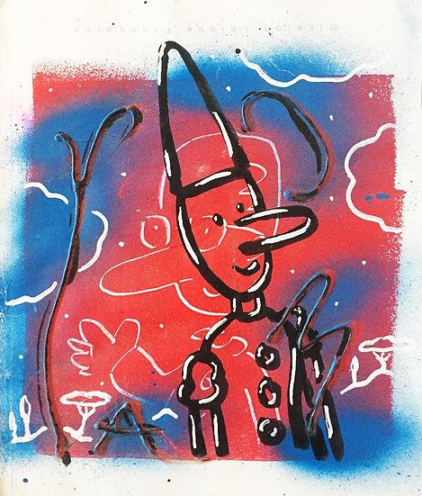 Pinocchio - Technique mixte sur papier - 27 x 23 cm