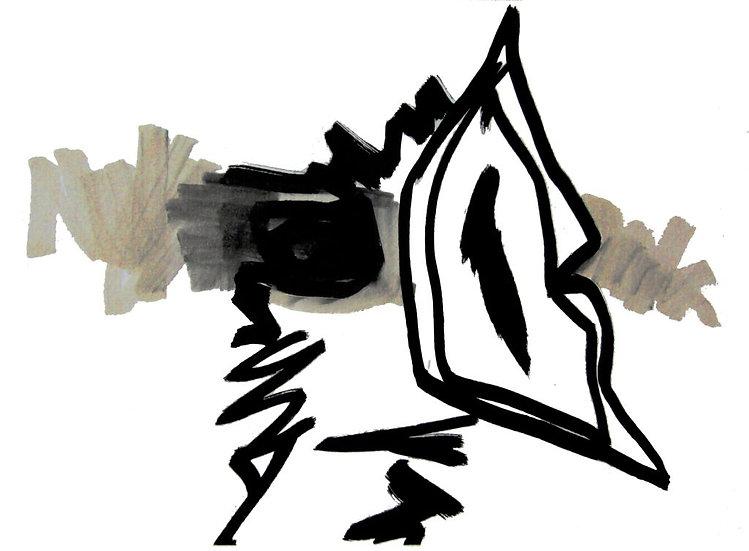 Migrateur 4 - Acrylique sur papier - 14 x 19 cm