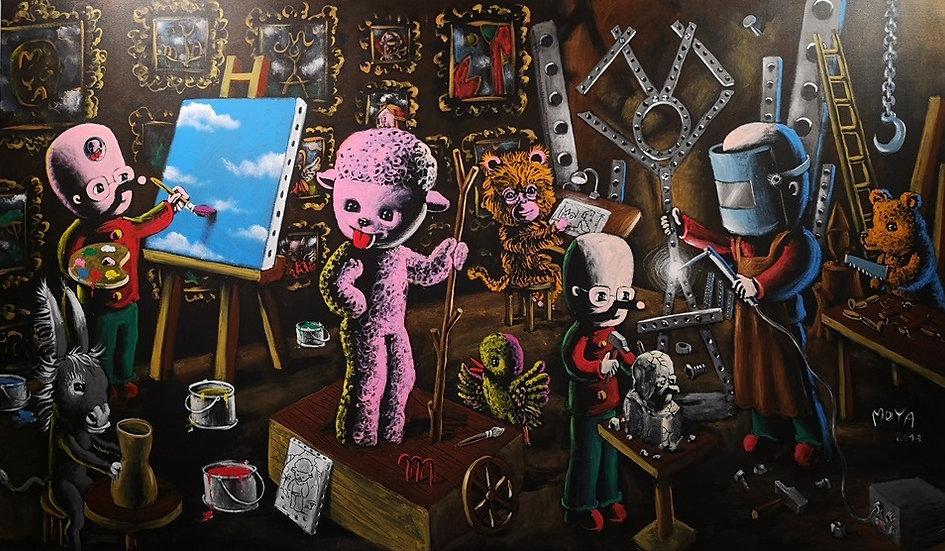 L'atelier de Moya - Acrylique sur toile - 114 x 195 cm