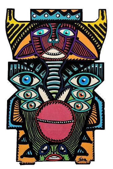 Clowno - Acrylique sur carton d'emballage - 2020 - 38 x 24 cm
