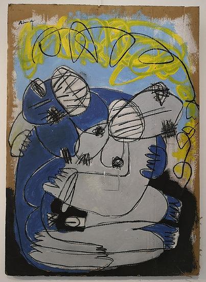Sans titre - Gouache, acrylique et fusain sur carton - 89,5 x 63,5 cm
