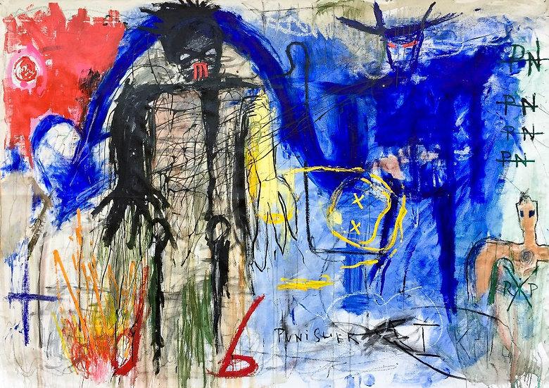 Black man VS Blue man - Technique mixte sur toile - 216 x 151 cm
