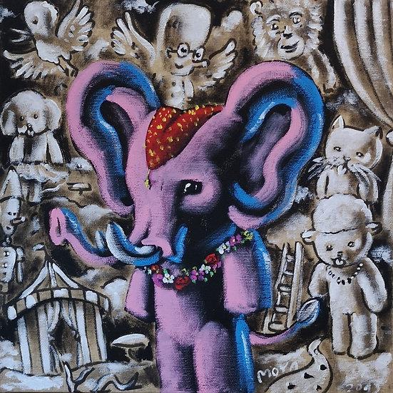 Le cirque - Acrylique sur toile - 30 x 30 cm