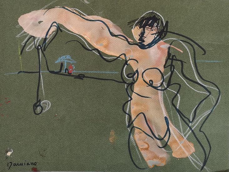 Femme au yoyo - Technique mixte sur papier - 24 x 32 cm