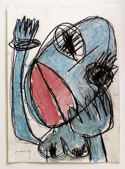 Sans titre - Gouache, acrylique et fusain sur papier - 29,5 x 21 cm