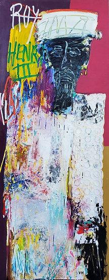 Roy Henri III - Technique mixte sur toile - 162 x 65 cm