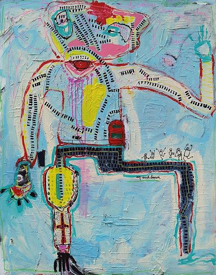 1 pied dehors 1 pied dedans - Technique mixte sur toile - 2020 - 146 x 116 cm