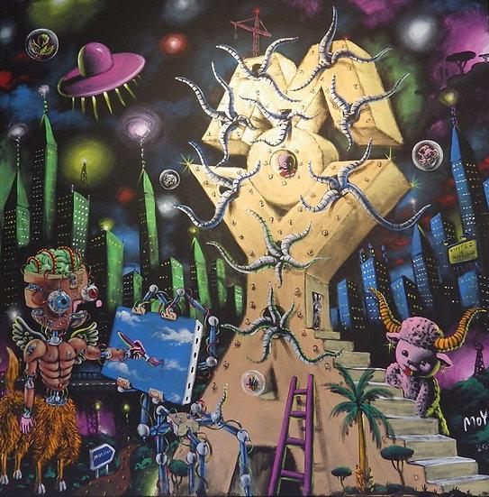 Moya futuriste - Acrylique sur toile - 150 x 150 cm