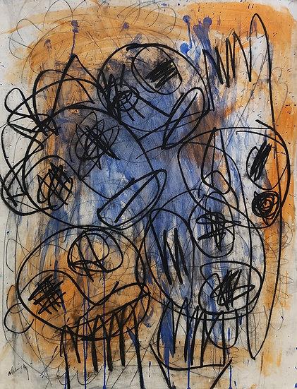 Sans titre - Acrylique, crayon et fusain sur papier cartonné - 65 x 50 cm
