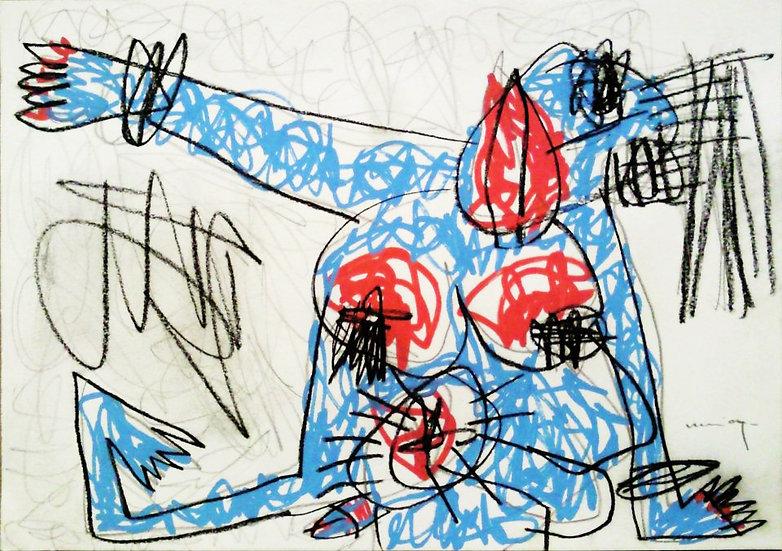 Sans titre - Gouache et Fusain sur papier - 21 x 29.7 cm