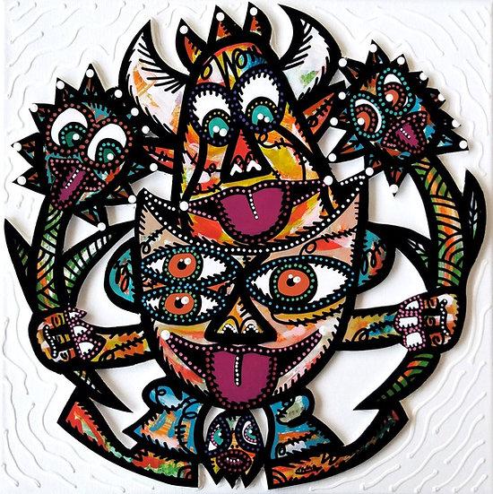 Happy - Acrylique sur carton plume marouflé sur toile - 2019 - 40 x 40 cm