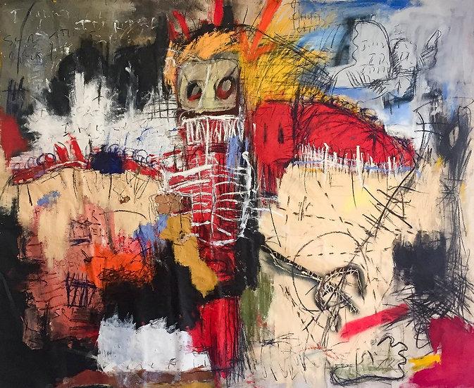 Angel or devil - Technique mixte sur toile - 217 x 180 cm