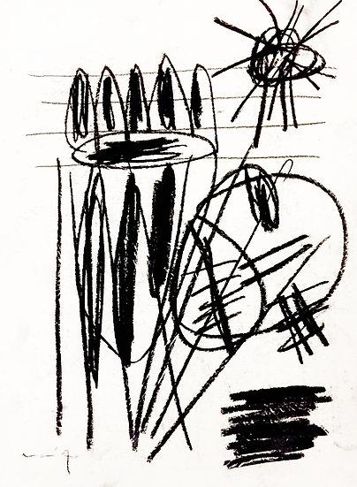 Sans titre - Fusain sur papier - 29.5 x 22 cm