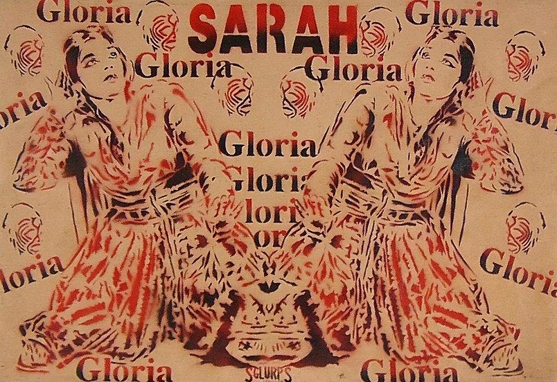 Sarah / Gloria - Bombe aérosol sur toile - 71 x 105 cm