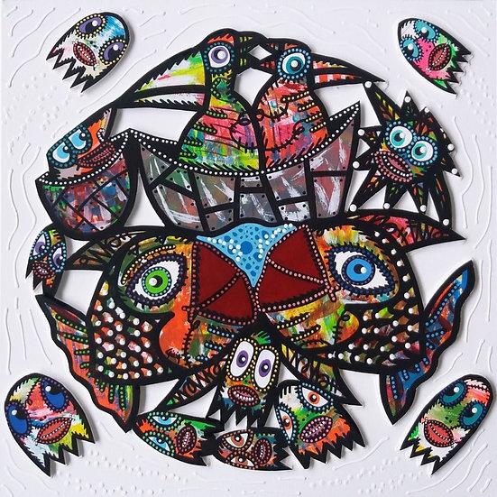Birds boat - Acrylique sur carton plume marouflé sur toile - 2019 - 50 x 50 cm