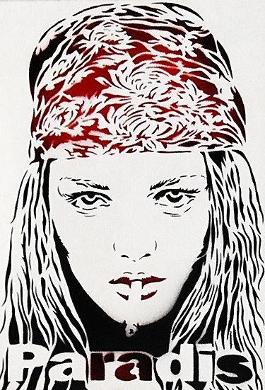 Vanessa Paradis - Bombe aérosol sur papier - 50 x 35 cm