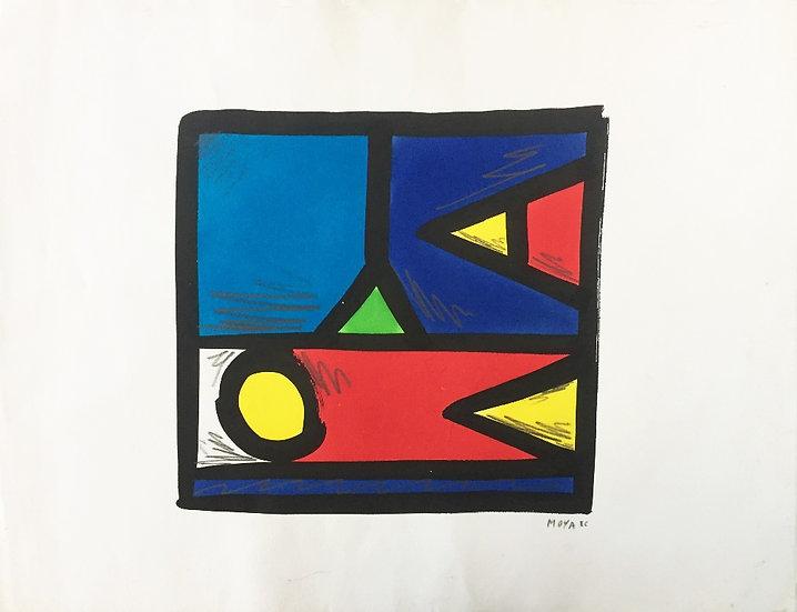 MOYA - Technique mixte sur papier - 1986 - 50 x 65 cm