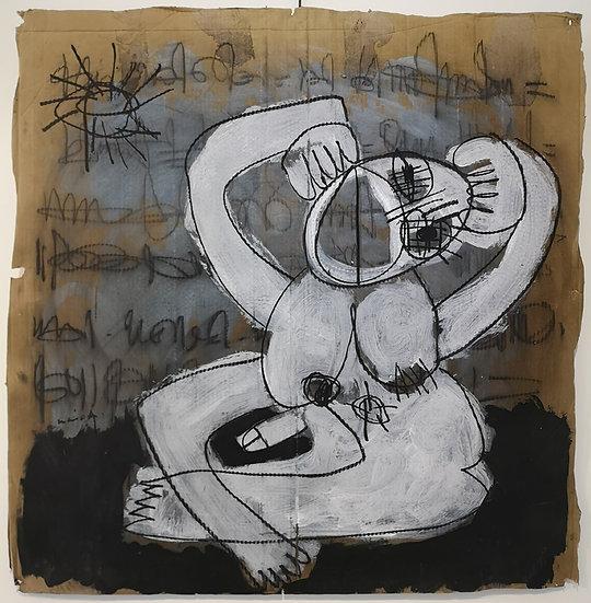 Sans titre - Gouache, acrylique et fusain sur carton - 89 x 88 cm