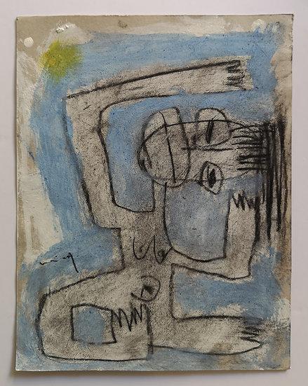 Sans titre - Gouache et fusain sur papier - 22 x 17 cm