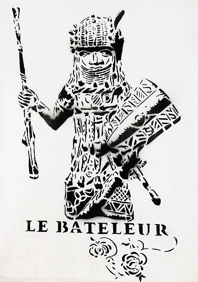 Guerrier Massaï - Bombe aérosol sur carton - 40 x30 cm