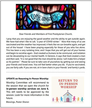 announcement about opening church June 6