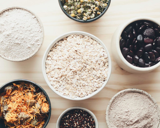 ingredients for our cleansing grains and mask