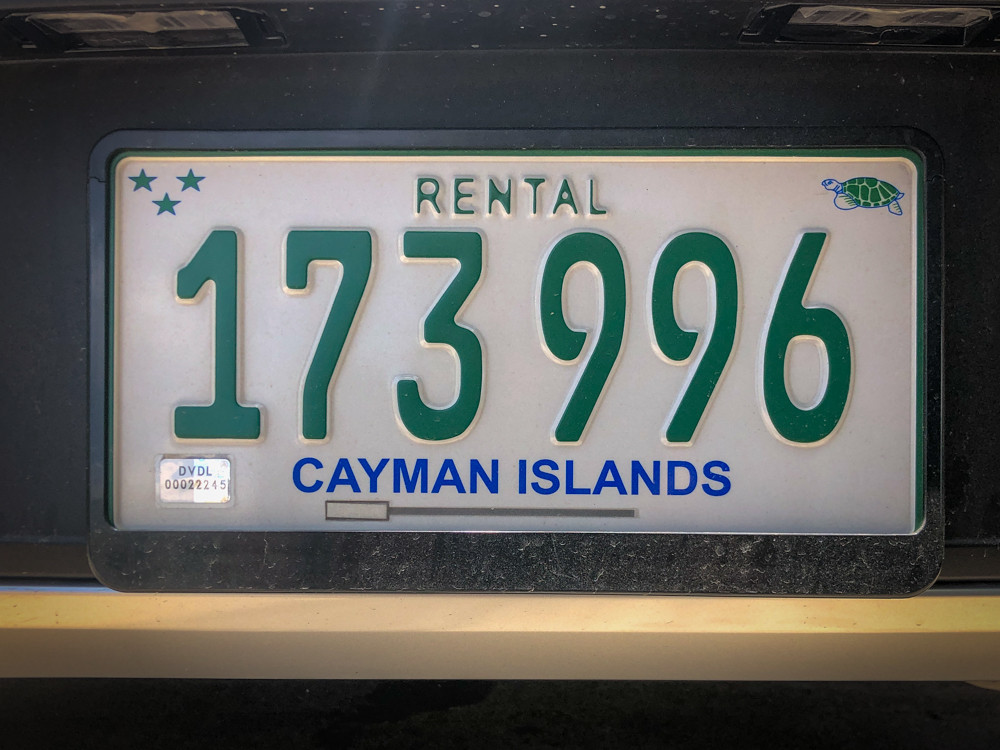 Cayman Islands rental car license plate