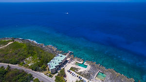An aerial shot of Lighthouse Point Dive Resort