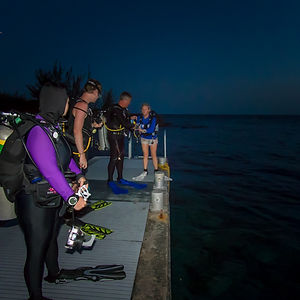 Divers prepare to night dive Lighthouse Point's mini wall and reef.
