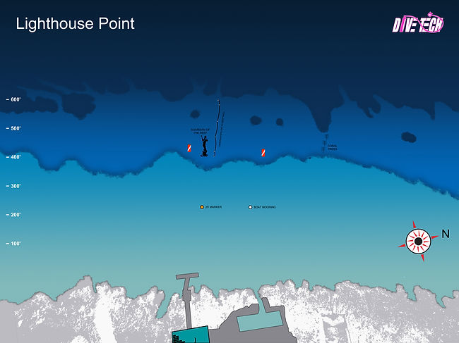 Map of Divetech's house reef - Lighthouse Poin