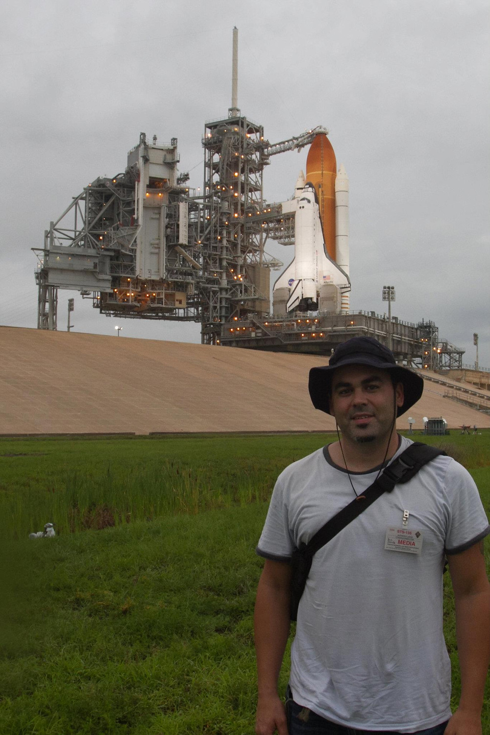 Me, standing in front of the Shuttle Atlantis, 10 hours before liftoff on her final mission - STS-135.