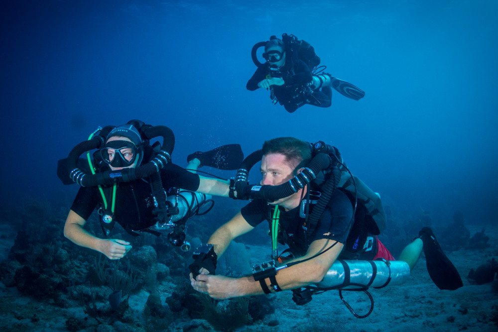 A Divetech instructor and student, practicing confidence building drills.