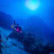 KISS rebreather diver descending the main wall.