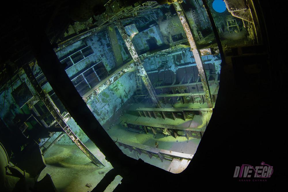 Light painting shot of the USS Kittiwake engine room.
