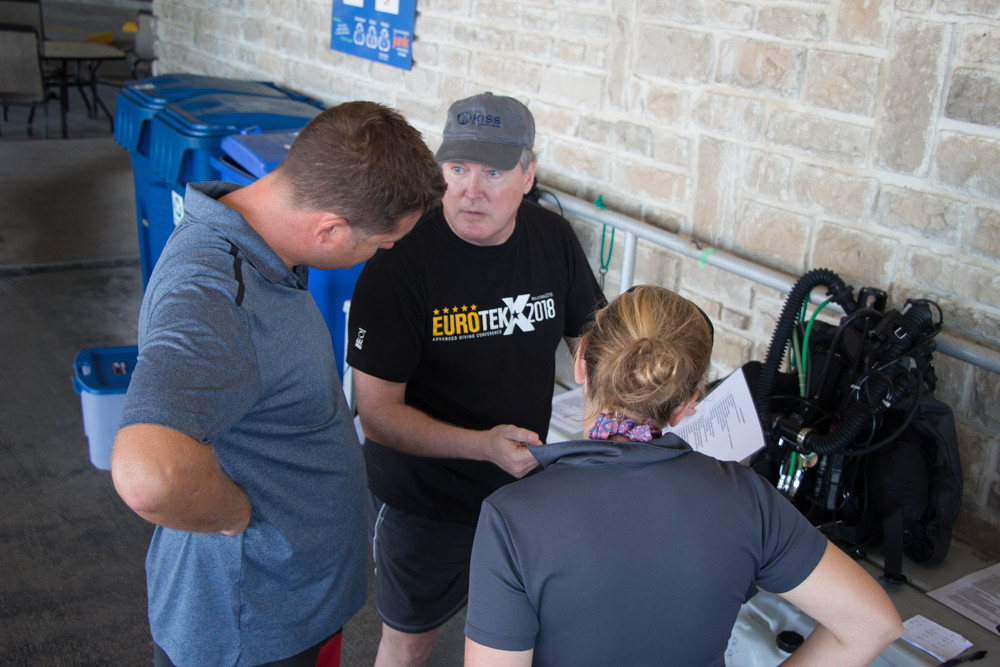 Instructor Trainer Doug Ebersole, conducting training with Divetech staff members.